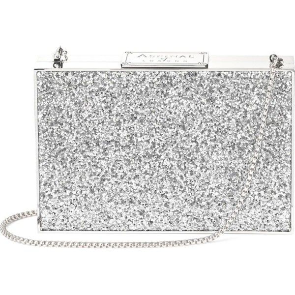 ASPINAL OF LONDON Box glitter clutch bag (4,620 GTQ) ❤ liked on Polyvore featuring bags, handbags, clutches, clasp purse, chain handle handbags, chain-strap handbags, hardcase clutch and hard clutch