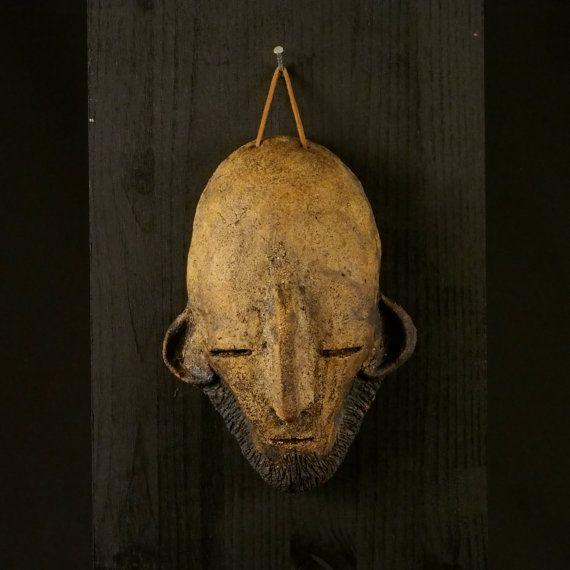 a Ceramic mask, made by Juri Etto, sold on Etsy. Ceramic, Stoneware, Sculpture, norse, rune