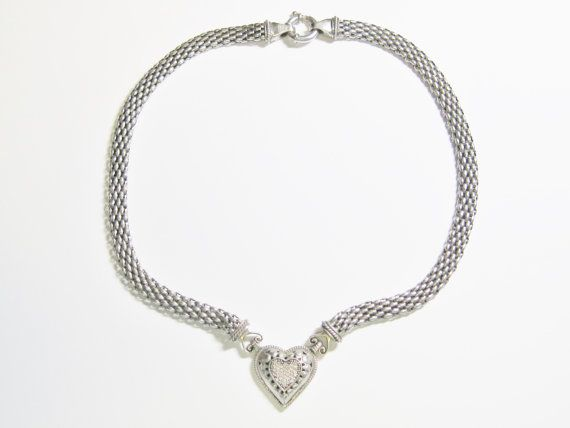 Sterling Diamond Heart Necklace Mexican by BejeweledEmporium