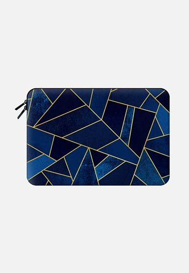 Blue Stone / Gold Lines Macbook Air 13 sleeve by Elisabeth Fredriksson | Casetify