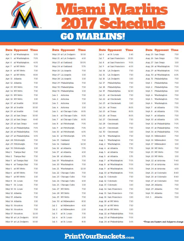 2017 Miami Marlins Schedule