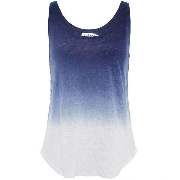 Velvet by Graham & Spencer Ombre Linen Vest Top (£85) ❤ liked on Polyvore featuring tops, shirts, tank tops, tanks, ink, linen tank, linen shirt, shirts & tops, dip dye shirt and blue tank