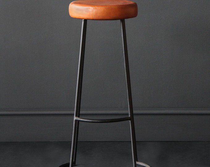 Industrial Vintage Road House Tan Bar Stool Tan Leather Covered Seat 67cm Seat Height Industriel Vintage