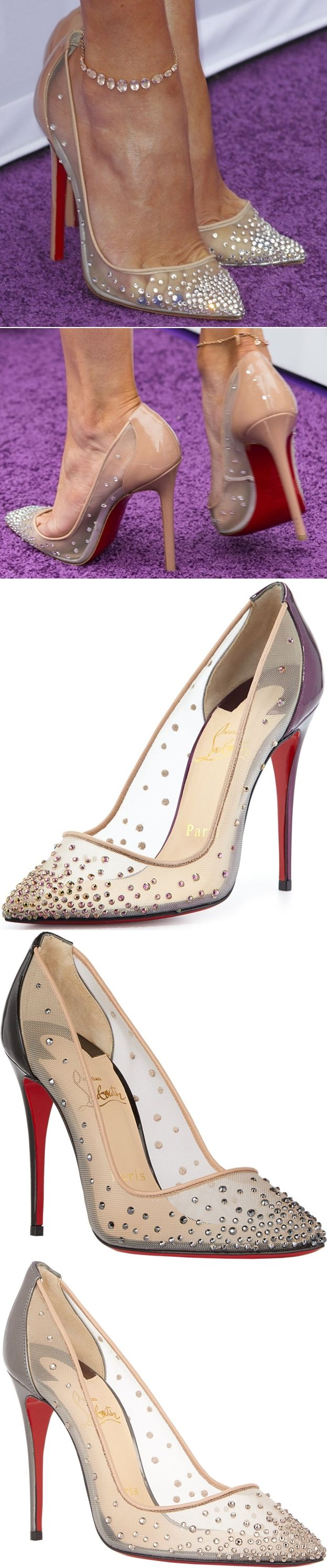 Jennifer Lopez wearing a gorgeous pair of crystal-embellished pumps from Christian Louboutin