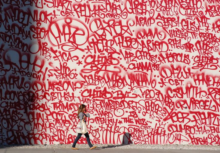 East Houston Street, New York 2010.  grafiti, red, typography, photgraphy, wall, streeet, scribble, pattern,