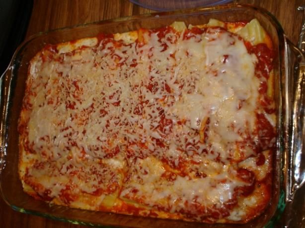 The Best Cheese Manicotti from Food.com:  I love Italian food, and I love cooking for my friends at college, so that's how this dish evolved. I don't really use any written recipe when I make it, so some of the seasoning measurements are approximate. This makes seven 2 manicotti shell servings, which is a lot, but it tastes great even as leftovers.