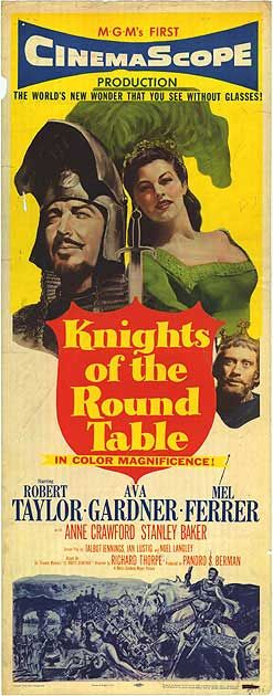KNIGHTS OF THE ROUND TABLE (1953) - Robert Taylor - Ava Gardner - Mel Ferrer - MGM - Insert Movie Poster.