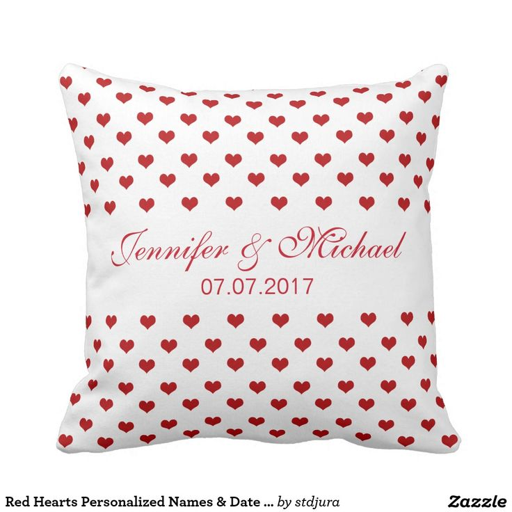 Red Hearts Personalized Names & Date Wedding Throw Pillow  #Red #Hearts #PersonalizedNames & #Date #Wedding #Throw #Pillow #zazzle