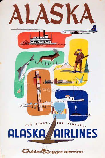 Alaska, Alaska Airlines, Golden Nugget Service - vintage travel poster