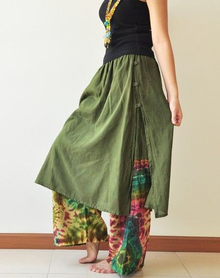 Pants with skirt attached