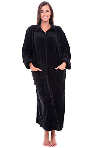 Women's Sleepwear - Del Rossa Womens Fleece Robe Soft ZipFront Bathrobe ** Learn more by visiting the image link.