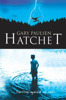 Hatchet, by Gary Paulsen. There was wild crashing sound, a ripping of metal, and the plane blew through the trees, out over the water and down, down to slam into the lake.  City boy Brian is not used to living rough, until his plane crash-lands in the Canadian wilderness.  All he has is a hatchet and a determination to survive. He must learn to live the hard way or die trying!