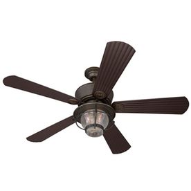 Harbor Breeze Merrimack 52-in Antique Bronze Downrod or Flush Mount Ceiling Fan with Light Kit and Remote Control