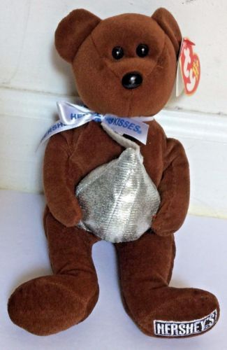 Ty-Hershey-Kisses-100-Years-Brown-Original-Beanie-Baby-Cocoa-Bean-w-Heart-Tag