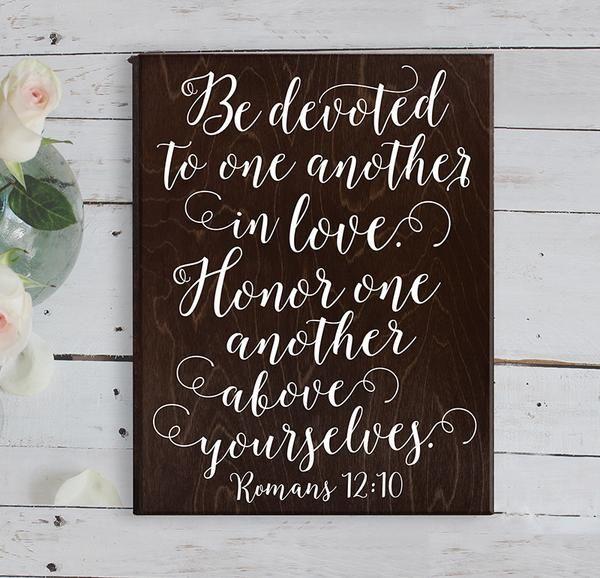 Romans 12 10 Bible Verse Wall Art Bible Verse Wedding Gift Wedding Gift Ideas Unique Wedding Gift for Couple