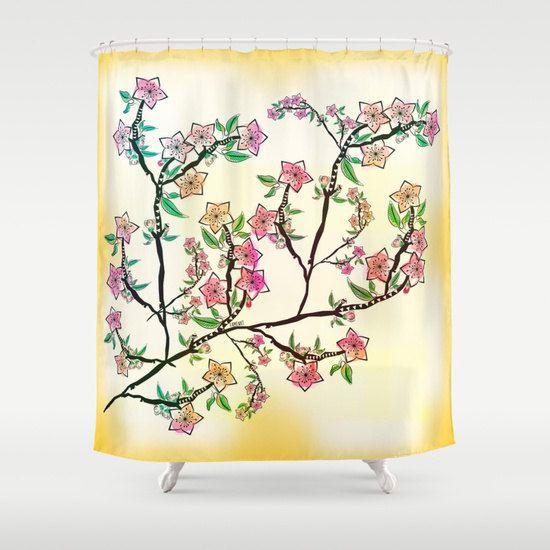 Cherry blossoms Shower Curtain, Shabby chic shower curtain, shower curtain vintage, rustic shower curtain, fabric shower curtain