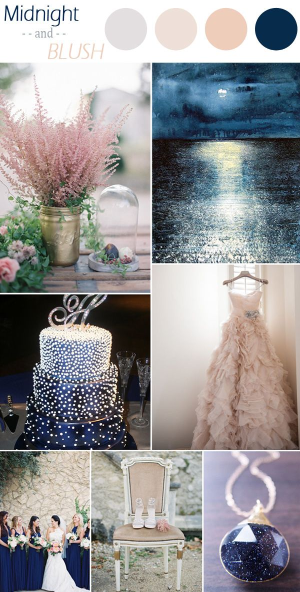 romantic midnight blue and blush wedding color ideas for fall 2015