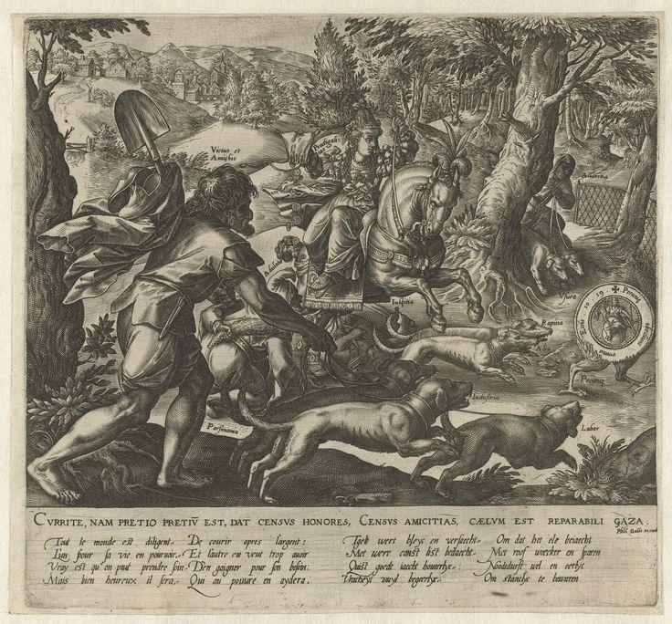Hendrick Goltzius | De jacht op rijkdom, Hendrick Goltzius, 1576 - 1580 | Vier allegorische figuren jagen op een symbolische dukaat met kippenpoten. In de marge verzen in Latijn, Frans en Nederlands.