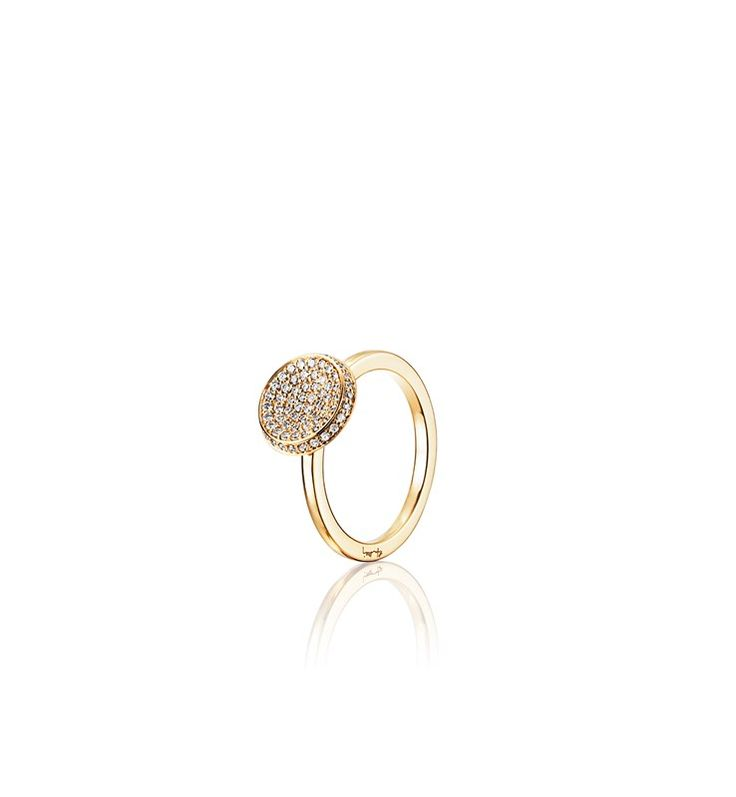 LOVE BOWL RING, CLEAR.  Ring in 18 k gold or white gold with brilliant cut diamonds.  Diamonds: total 0.38 ct tw/si.  Size bowl: 11 mm