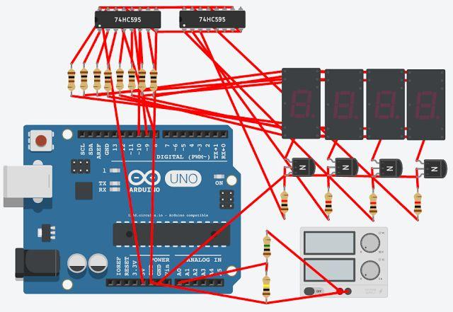Fabiano Arndt: Arduino - Voltímetro com display de 7 Segmentos + 74hc595