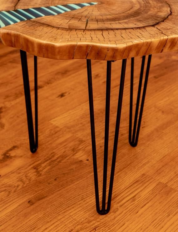 Zebra Twin Coffee Table With Glowing Resin Fillin Table Basse