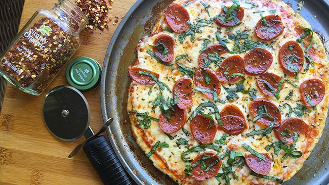 This pie is INSANE. Miss pizza? Try this! The crust is GROUND CHICKEN.