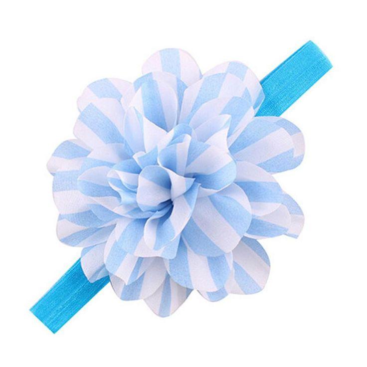 Tonsee Design Baby Girls Striped Big Flower Headbands Children Elastic Hair Accessories Wholesale