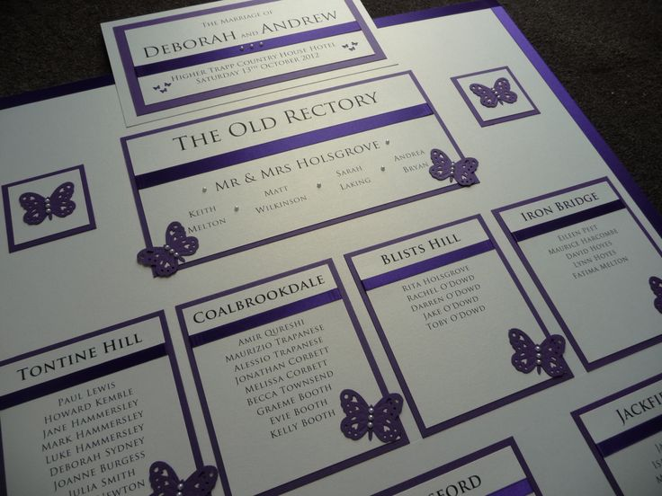 Ivory & Purple butterfly themed Wedding Table Plan