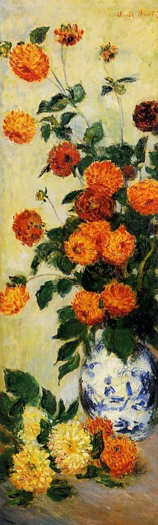 """Claude Monet aussi peint """"Dahlias"""" dans la jardin de Argenteuil òu Monet jouè avec les effets de la lumière avec petites taches de couleur.    Claude Monet also painted """"Dahlias"""" in the garden of Argenteuil where Monet played with the effects of light with tiny spots of colour."""