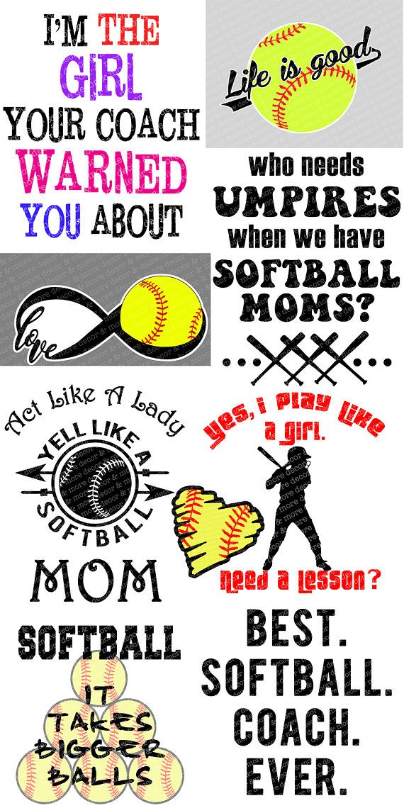 NINE Softball SVG files. Funny Softball SVGs. Cute SVGs for Softball Players. Cool Softball SVGs. Softball players, Softball moms, and Softball coaches will love these SVG sayings and designs. Make your softball players day by creating a special item with your Cricut, Silhouette, or other cutting machine, and adding their softball team number to make it more personal! Surprise that softball coach with a special t shirt or tumbler of his own. And if youre a softball mom, you really NEED one…