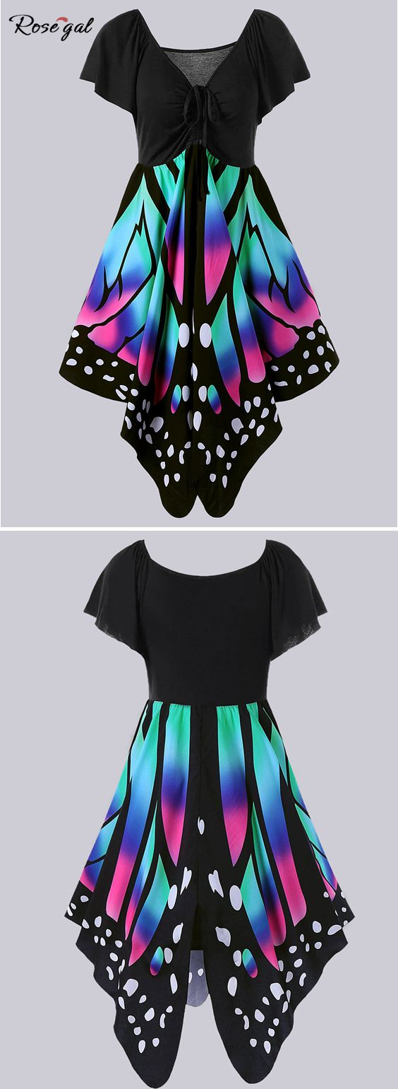 Free shipping worldwide.Plus Size Empire Waist Butterfly Pattern Dress. #butterfly dress #plus size dresses #womens fashion #summer #spring