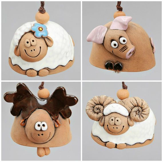 Small Ceramic Bells: Moose, Sheep, Pig, Ram. Scool Accessory, Christening Souvenir, Children Toy.