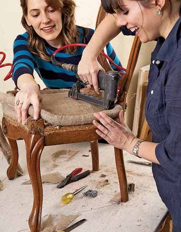 How to Reupholster Dining Room Chairs - Do It Yourself Furniture Reupholstery - Country Living