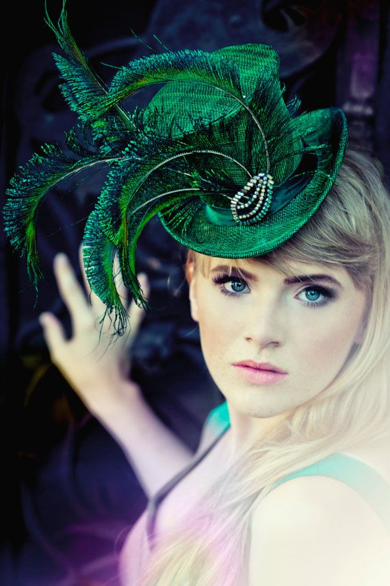 Emerald Green Mini Straw Accessory Top Hat Peacock Feathers Accessories Wedding Wear Party Fascinator  Hats Steampunk