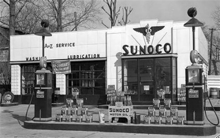 old gas stations | Sunoco Service Station | Vintage Gas Stations...