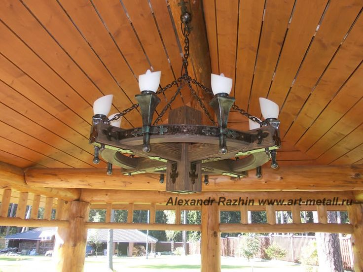 Wood,  wrought iron chandelier by Artmetall on Etsy