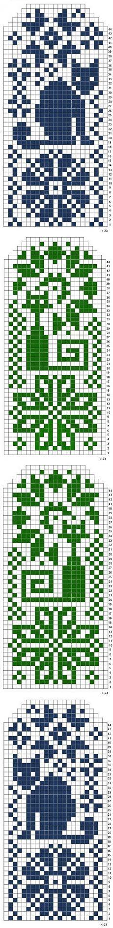 Схема узора для варежек спицами