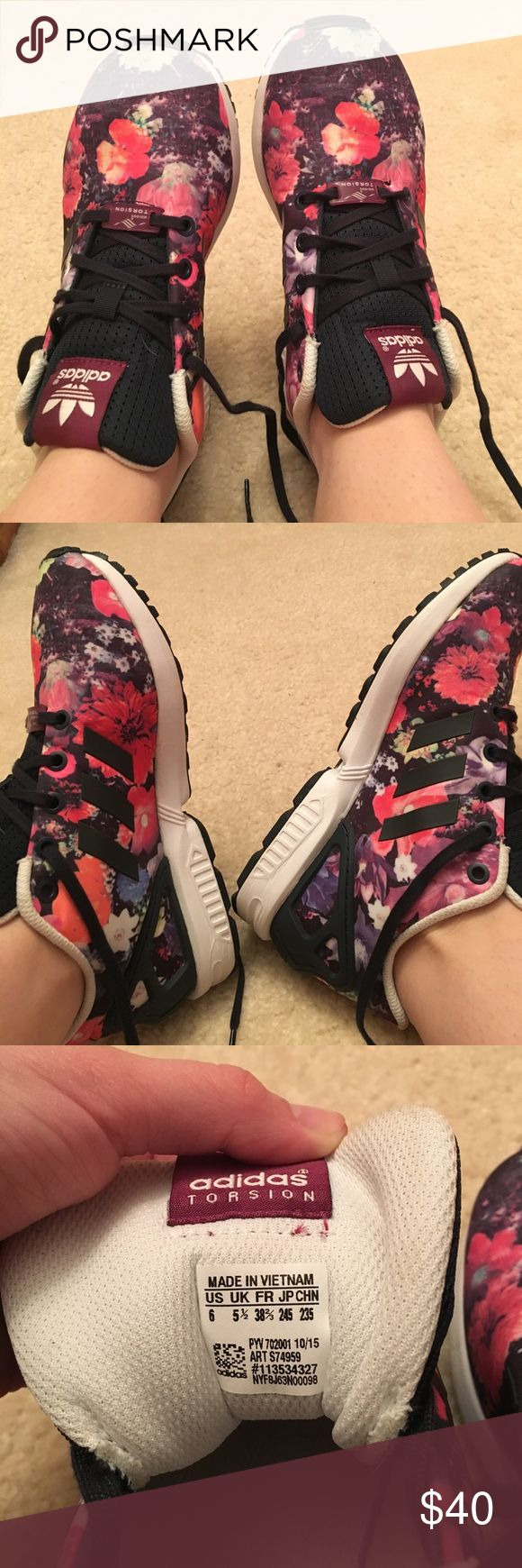 Woman's Adidas ZX Flux Floral Sneakers Adidas woman's floral ZX Flux, never worn because they did not fit me. Perfect condition. Size 8 in woman's and a size 6 in youth girls. Adidas Shoes Athletic Shoes