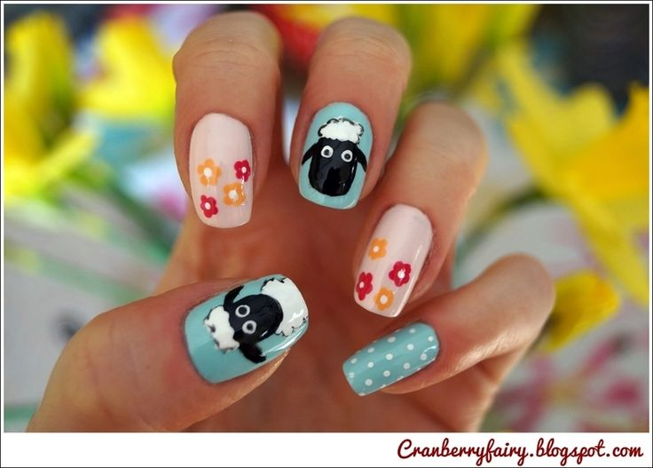Shaun the sheep! nail art by Cranberry Fairy