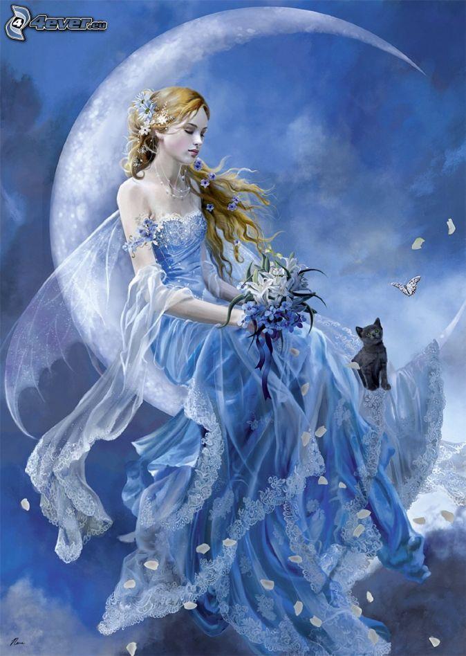 Women Goddesses | noche de hadas , mes , ramo , gato , mariposa