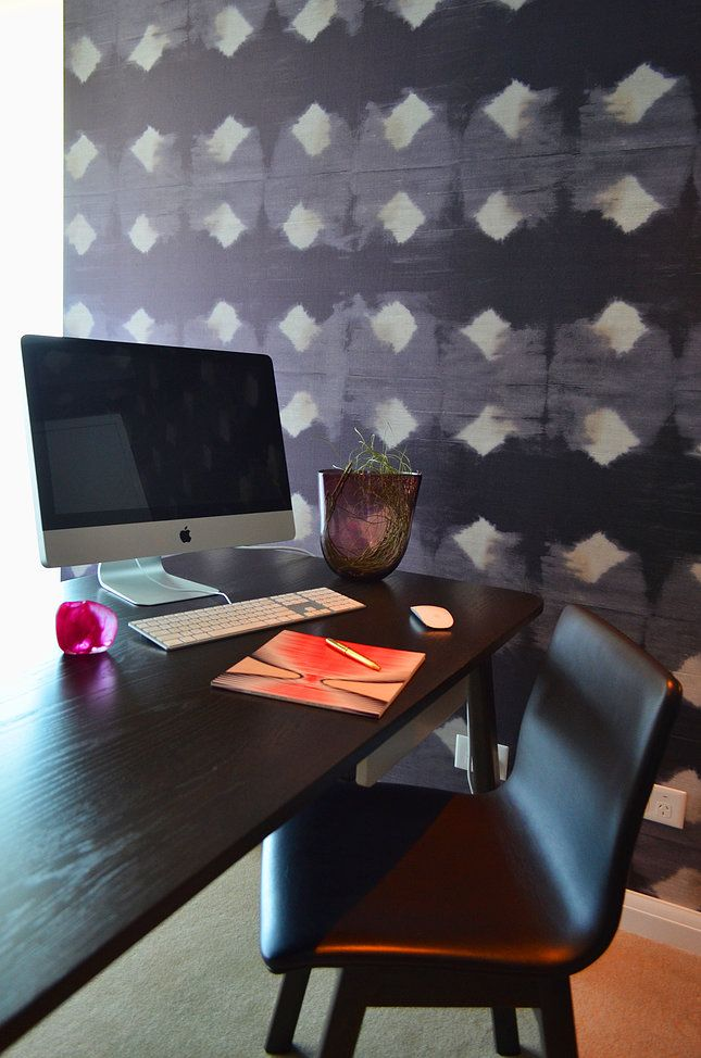 Circular Quay Harbour Apartment - Swan Studio Interior Design | office purple wallpaper office wallpaper jardan desk ladies office black desk