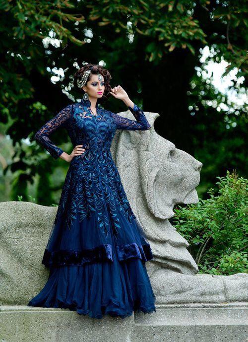 Midnight blue lace coat style lehenga, Bridal wear or elegant party wear