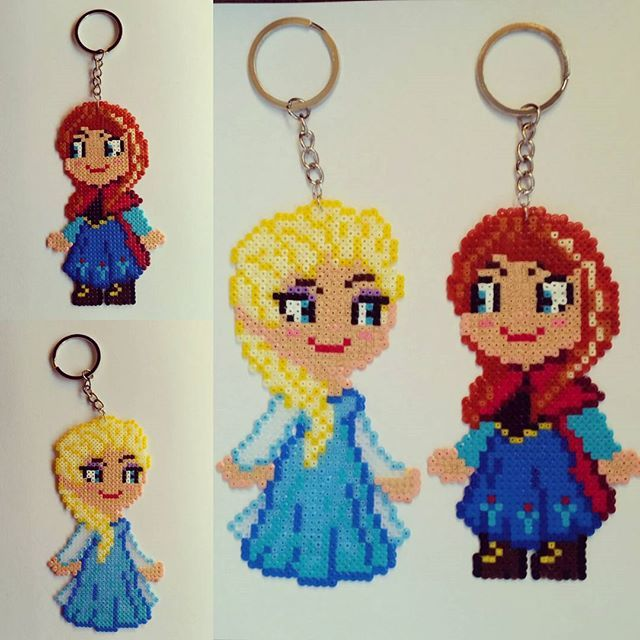 Anna and Elsa - Frozen keyrings hama mini beads by  hamabeads_maniacs