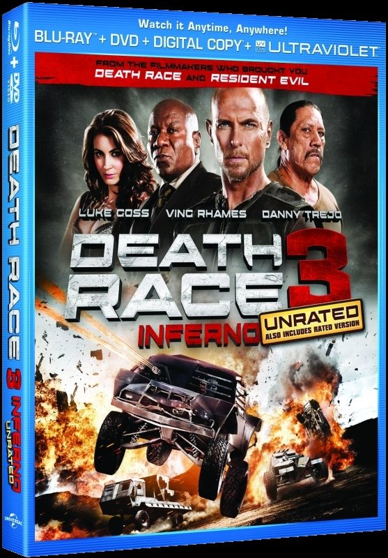 Death Race 3: Inferno cover art. The movie stars Luke Gross, Danny Trejo and Ving Rhames.