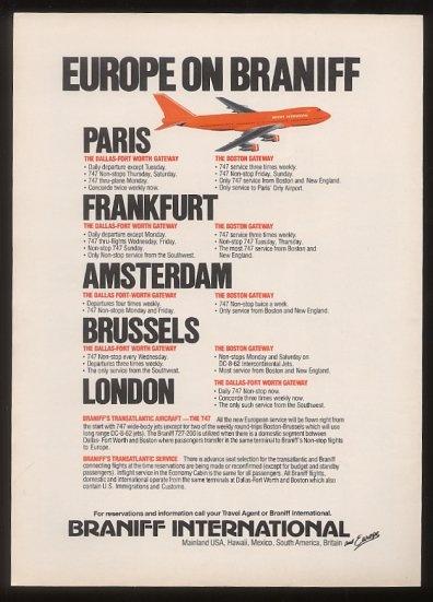 EUROPE ON BRANIFF Advertisement - Braniff International Airlines