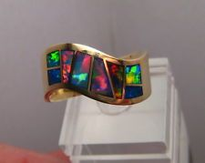 RED   Navajo Style Australian Black Opal Inlay Ring 14k Yellow gold , Size 11