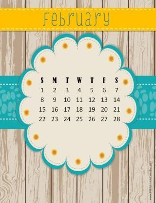 February 2016 calendar template with a wooden background and a blue and yellow ribbon