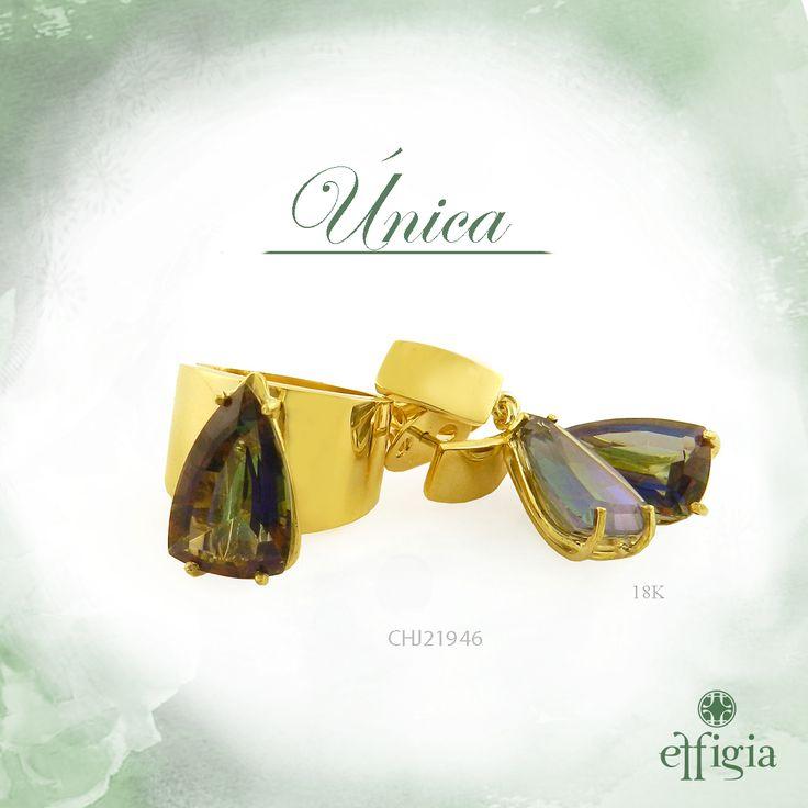 Effigia presenta este elegante juego de oro amarillo de 18k con topacio mystic. ¡Brilla siempre con Effigia! #JoyasHechasAMano #Oro