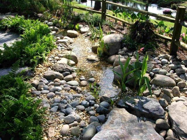 jardin de rocaille avec des pierres lisses et ovales