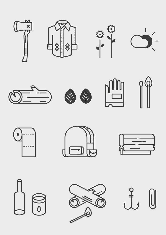Image of The Great Outdoors Vector Icon Set